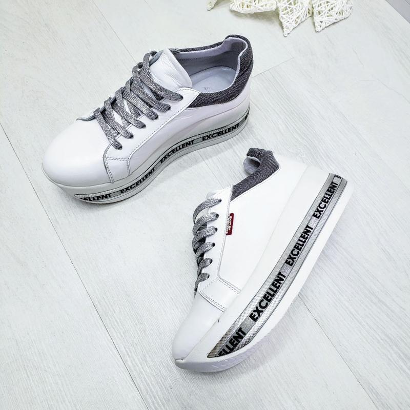 Кожаные белые кроссовки - Фото 5