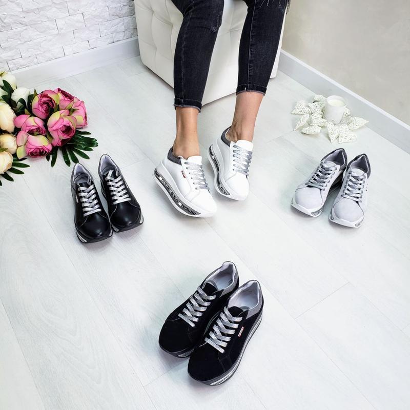 Кожаные белые кроссовки - Фото 6