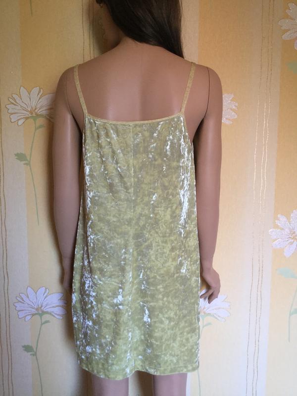 Платье бархатное лаймового цвета в бельевом стиле zara размер m/l - Фото 6