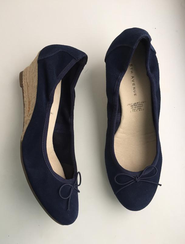 Кожаные туфли на танкетке, р. 38, 5th avenue, балетки на соломе