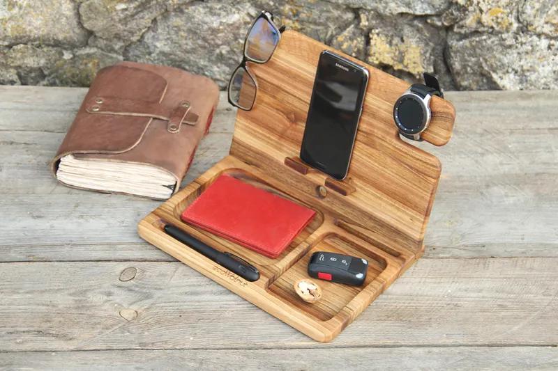 Настольный органайзер из древесины ореха в подарок мужу шефу отцу - Фото 3