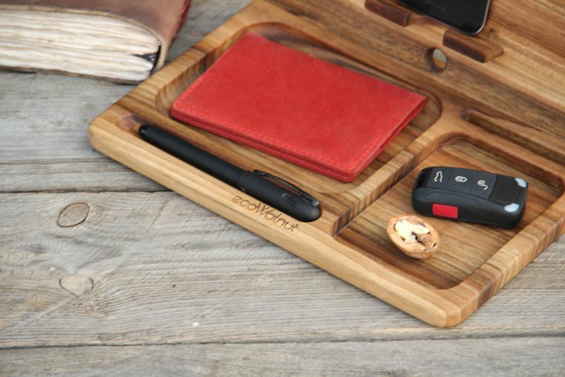 Настольный органайзер из древесины ореха в подарок мужу шефу отцу - Фото 4