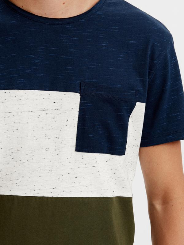Мужская футболка lc waikiki синий верх, карман и низ цвета хаки - Фото 3