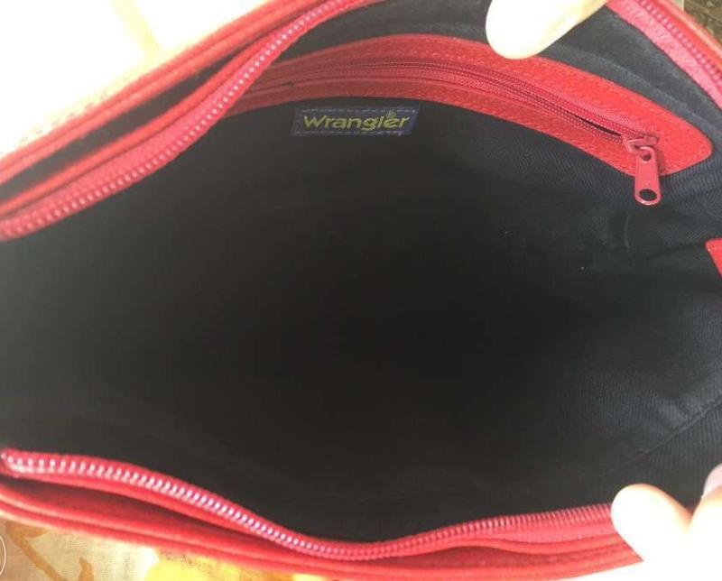 Стильная сумка wrangler красного цвета, оригинал, новая, качес... - Фото 4