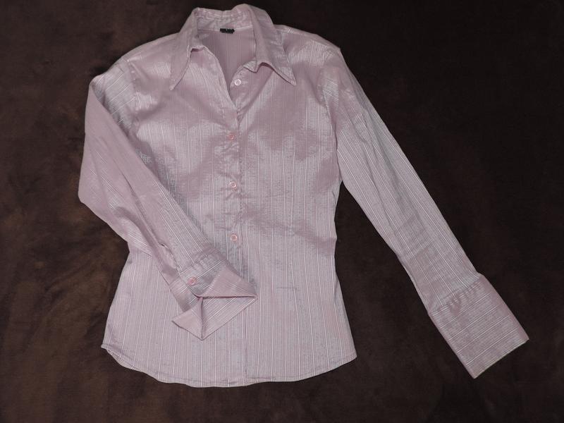 Блуза жемчужно-розовая рубашка р.м(40)