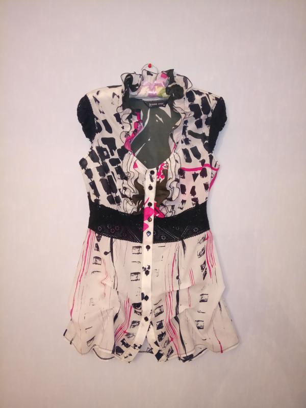 Натуральная легкая блуза с рюшами и плетеным кружевом