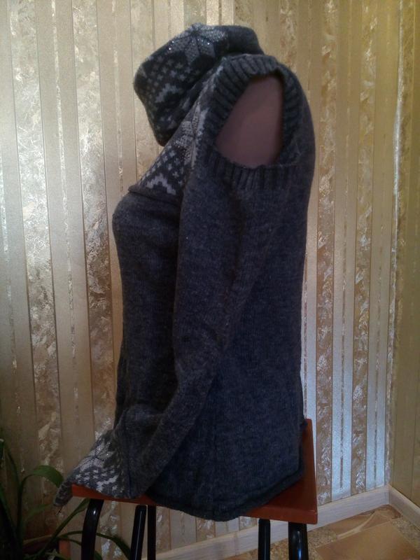Свитер с воротником-хомутом шерстяной темно-серый с открытыми ... - Фото 7