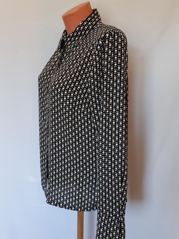 Блуза в контрастный узор  в стиле 60-х h&m ( размер 10) - Фото 6