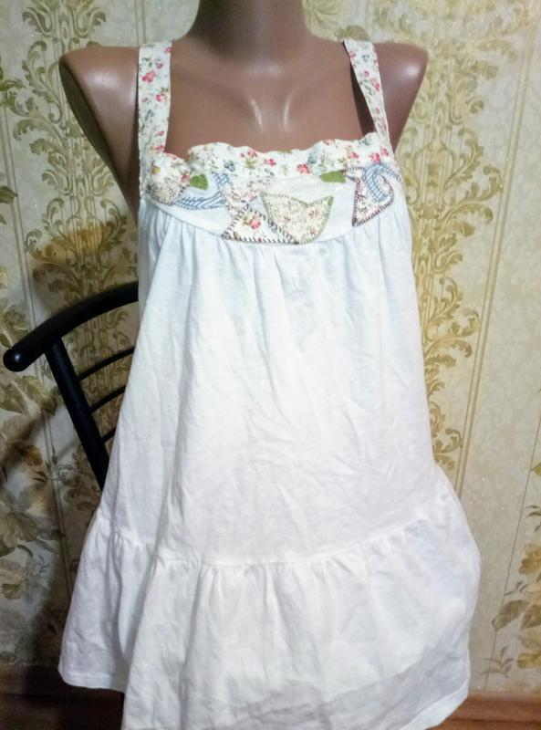 Летняя хлопковая майка топ с апликацией - Фото 2