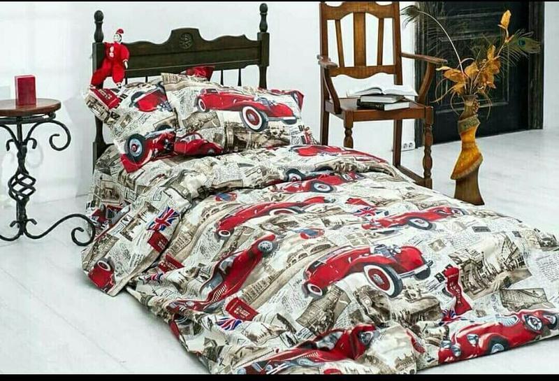 Стильное постельное белье для мальчика ретро, полуторка, качес...