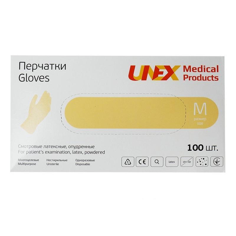 Перчатки латексные припудренные бежевые Unex М 100 шт