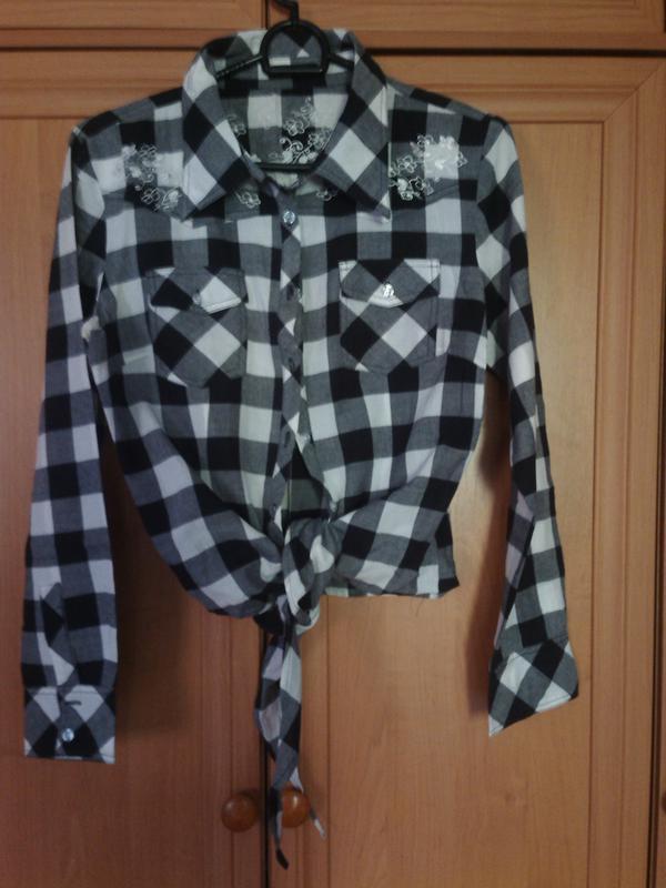 Хлопковая рубашка в ч/б клетку, р. 38-40