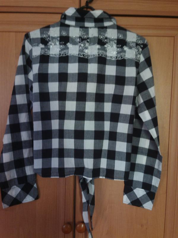 Хлопковая рубашка в ч/б клетку, р. 38-40 - Фото 2