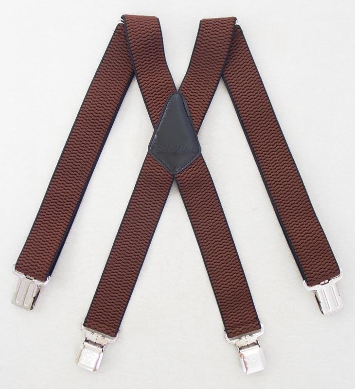 Широкие мужские подтяжки paolo udini коричневого цвета (арт. 192)