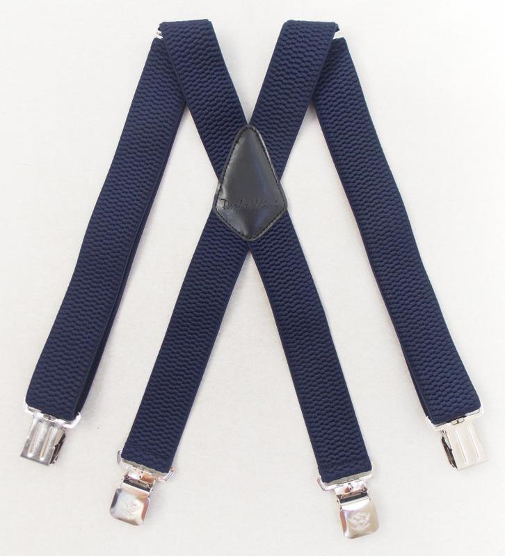 Широкие мужские подтяжки paolo udini темно-синие арт. 142