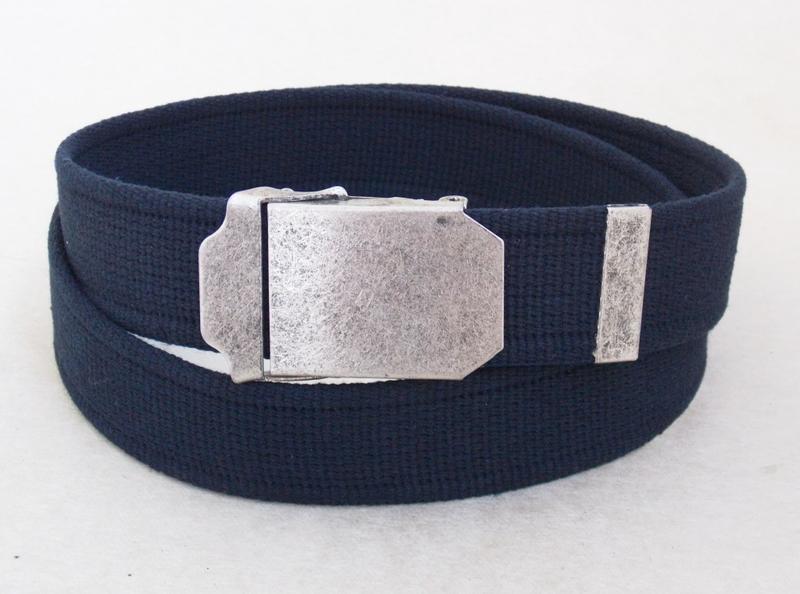 Темно-синий тканевый ремень для джинс - Фото 2