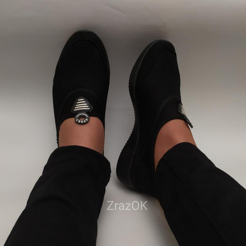 Sale черные кеды слипоны мокасины - Фото 2