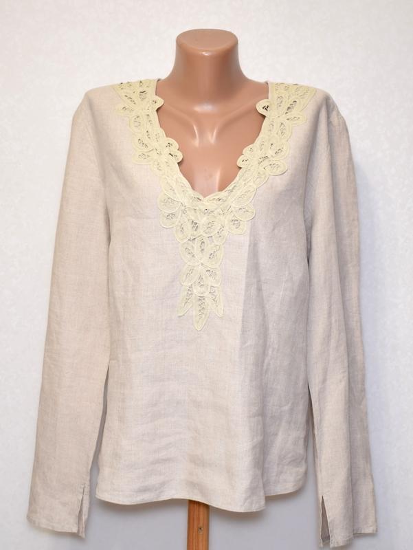 Симпатичная льняная блуза per una c коттоновым кружевом на груди