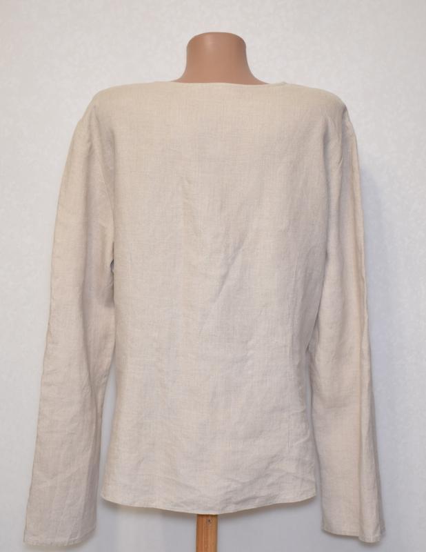 Симпатичная льняная блуза per una c коттоновым кружевом на груди - Фото 2