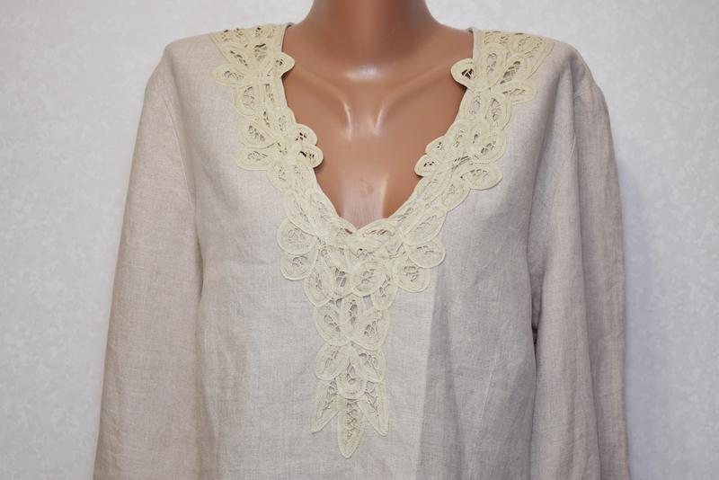 Симпатичная льняная блуза per una c коттоновым кружевом на груди - Фото 5