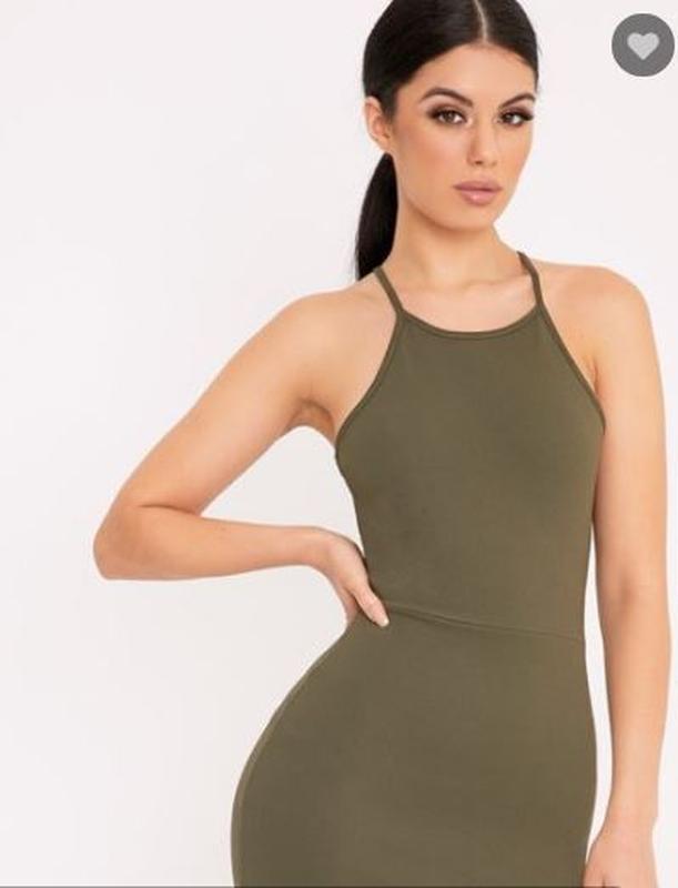 Платье миди сарафан по фигуре хаки miss selfridge, cotton