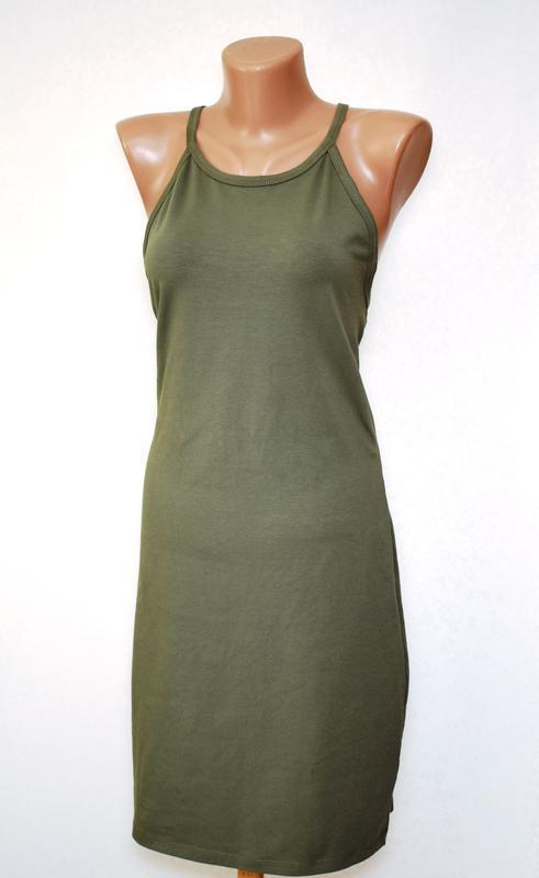 Платье миди сарафан по фигуре хаки miss selfridge, cotton - Фото 2