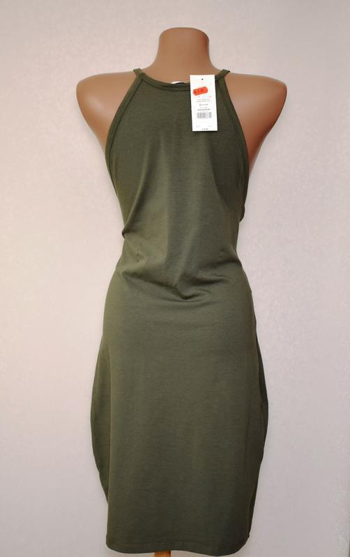 Платье миди сарафан по фигуре хаки miss selfridge, cotton - Фото 3