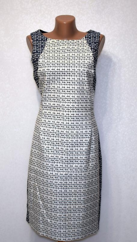 Качественное коттоновое платье футляр с вырезом на спине zara - Фото 2