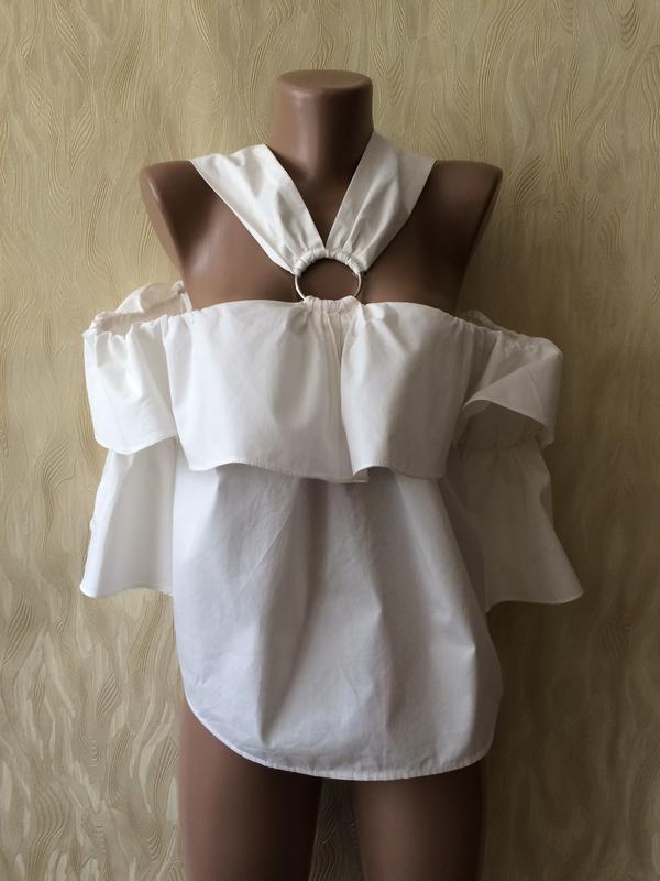 Необычная белая блуза с воланами и рукавами клеш misspap - Фото 4