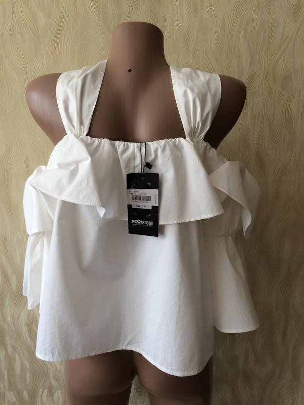Необычная белая блуза с воланами и рукавами клеш misspap - Фото 5
