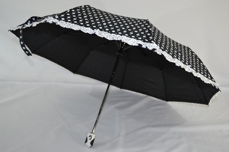 Новый стильный зонт-полуавтомат в горошек