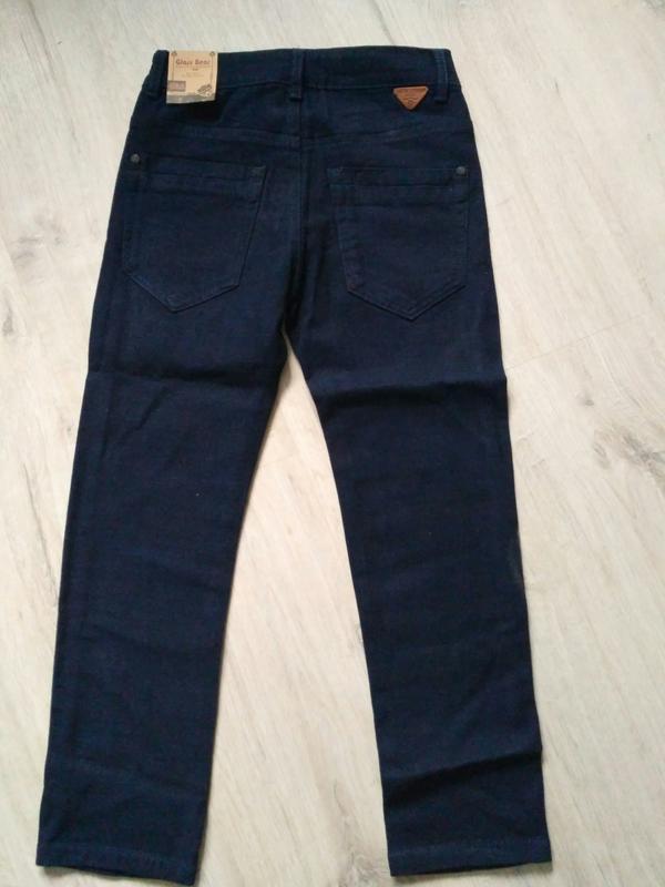 Новые синие теплые котоновые брюки для мальчиков в школу. 140 ... - Фото 2