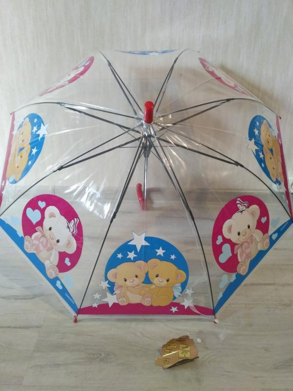 Детский прозрачный зонтик от 4 до 7 лет мишки