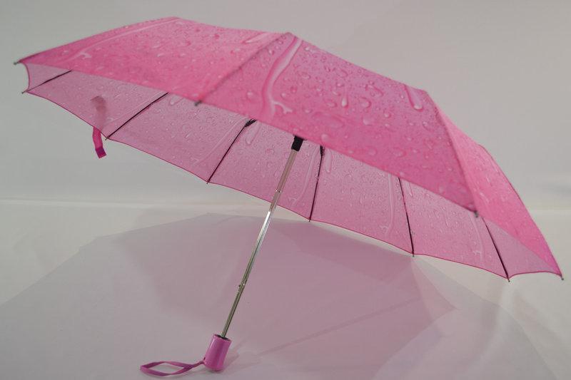 Шикарный зонт-полуавтомат капли дождя розовый - Фото 3