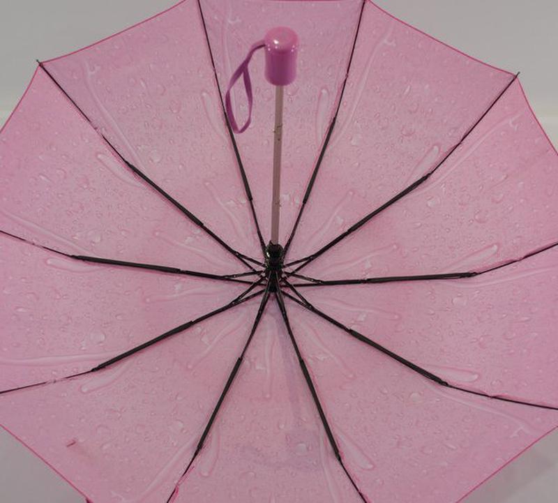 Шикарный зонт-полуавтомат капли дождя розовый - Фото 4