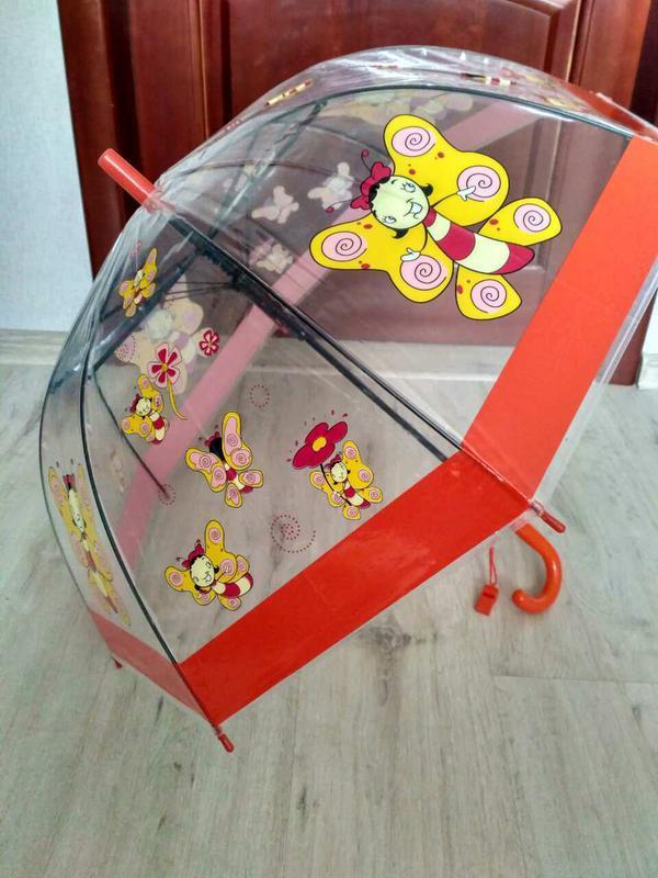 Детские прозрачные зонтики грибочком для деток 2-6 лет бабочки