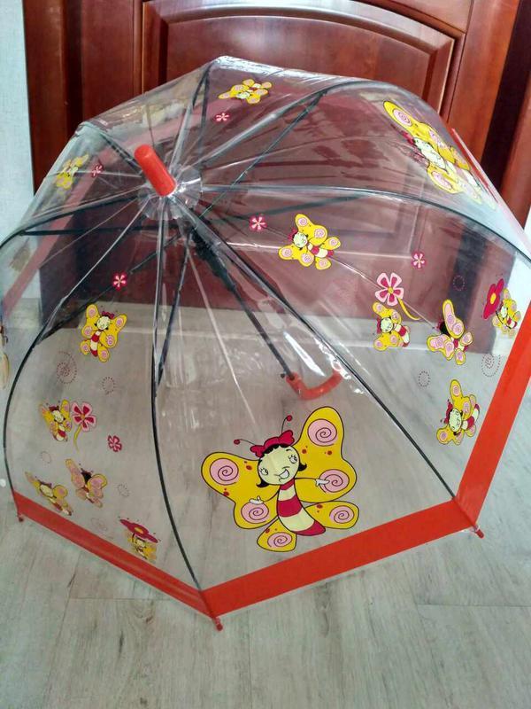 Детские прозрачные зонтики грибочком для деток 2-6 лет бабочки - Фото 2