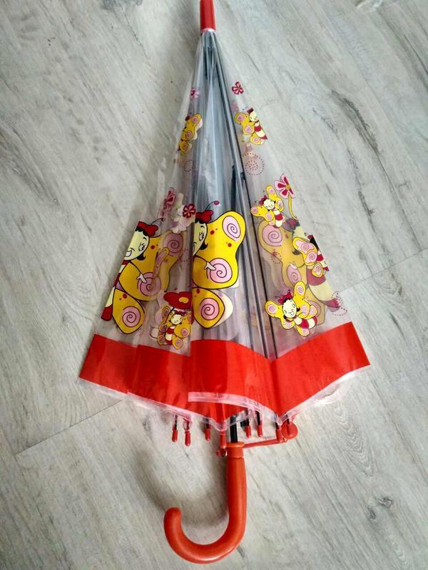 Детские прозрачные зонтики грибочком для деток 2-6 лет бабочки - Фото 3
