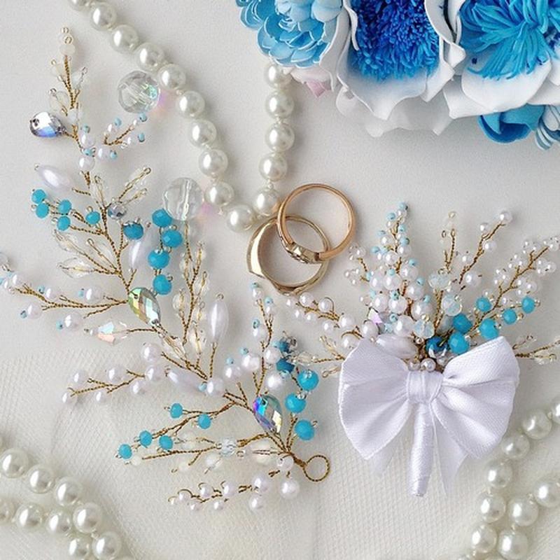 Свадебный комплект: нежная веточка в прическу и бутоньерка жениха