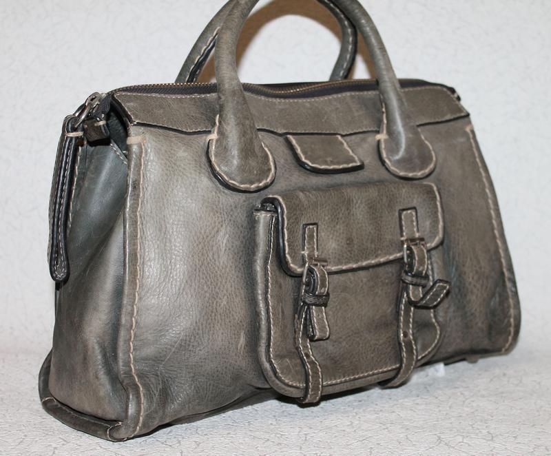 Большая кожаная сумка chloe оригинал,серийный нгмер