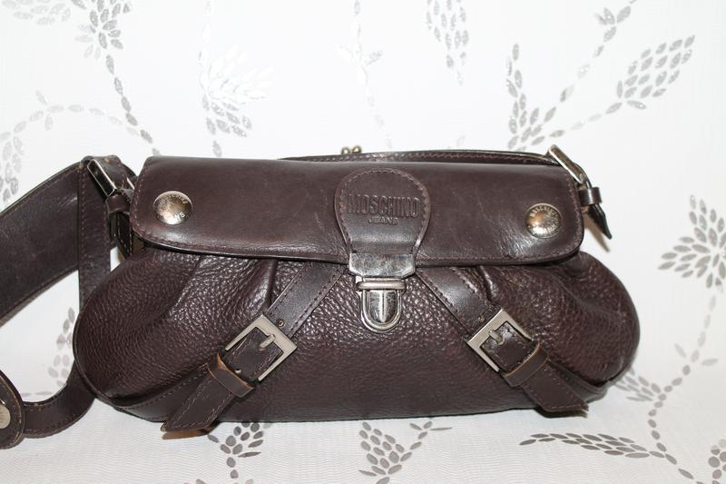 Оригинальная кожаная сумка moschino jeans