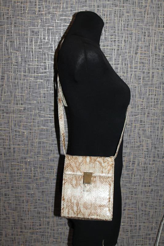 Стильная кожаная сумка nicoli тиснение под кожу питона.кроссбоди - Фото 3