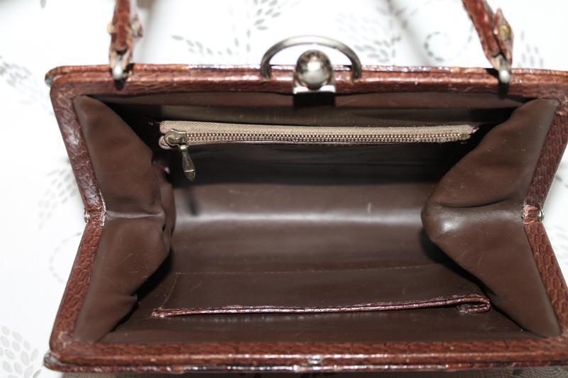 Винтажная кожаная сумка из кожи змеи - Фото 3