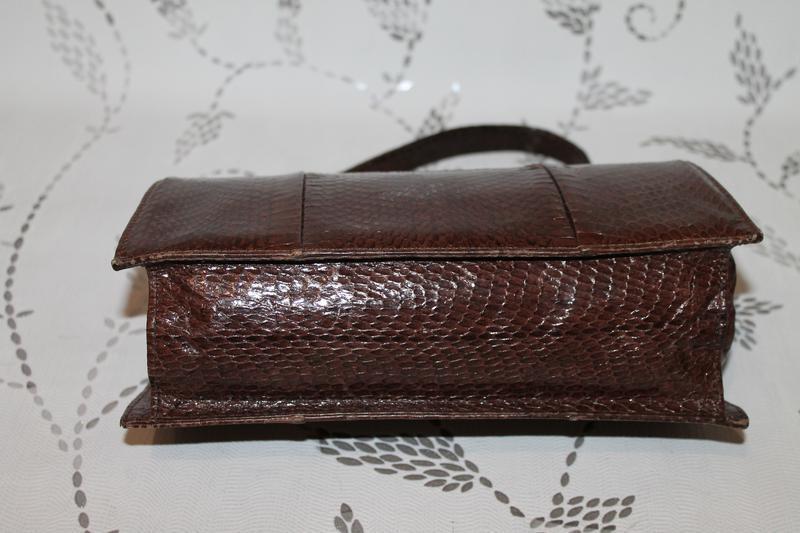 Винтажная кожаная сумка из кожи змеи - Фото 4