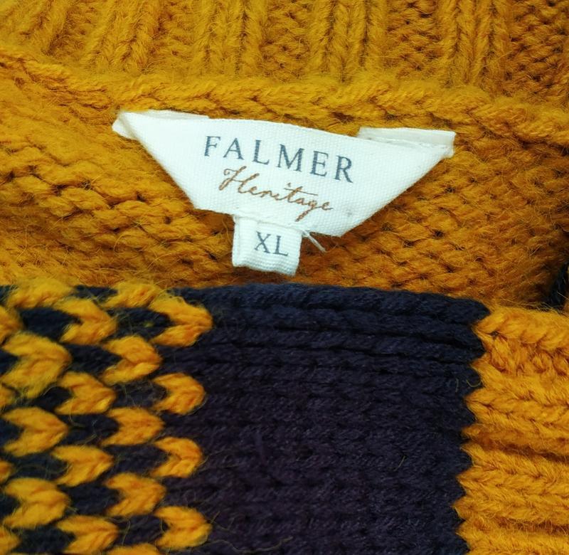 Стильный вязаный кардиган falmer heritage горчичного цвета - Фото 3