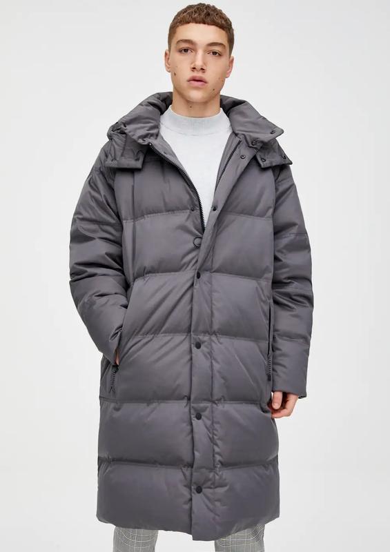 Стёганое длинное пальто- пуховик pull&bear модного кроя кокон ... - Фото 2