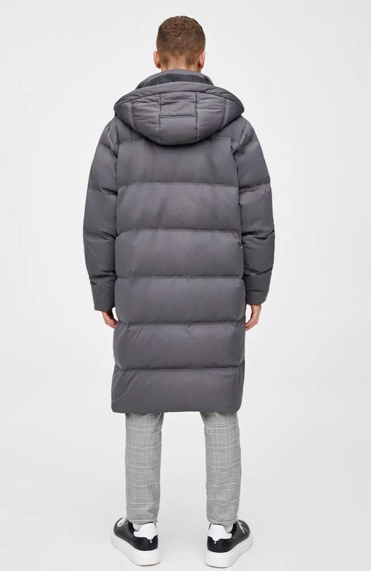 Стёганое длинное пальто- пуховик pull&bear модного кроя кокон ... - Фото 3