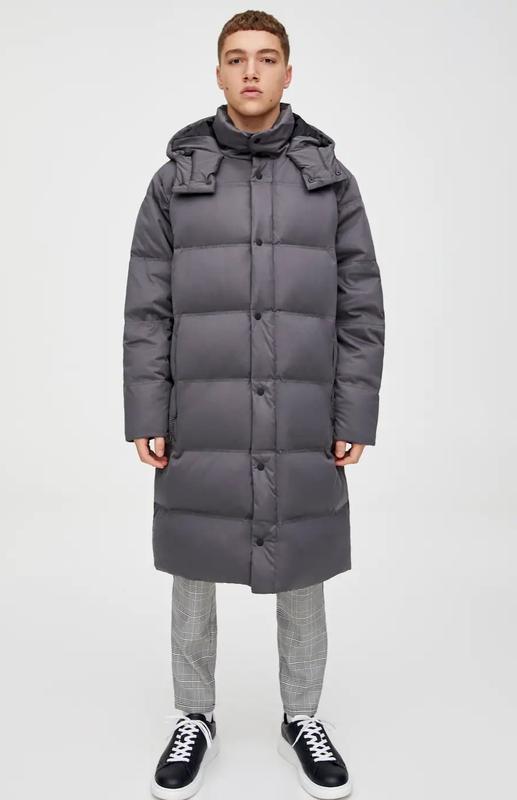 Стёганое длинное пальто- пуховик pull&bear модного кроя кокон ... - Фото 4