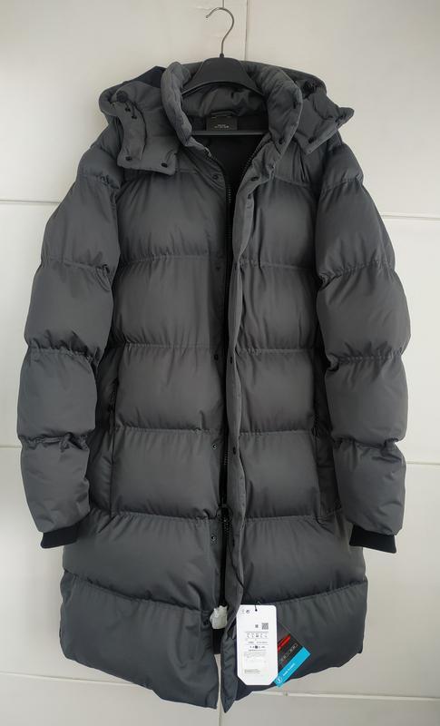 Стёганое длинное пальто- пуховик pull&bear модного кроя кокон ... - Фото 6