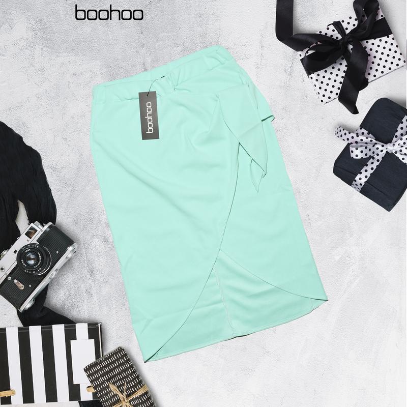 Миди юбка ментолового цвета с бантом boohoo - Фото 2